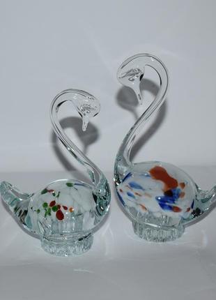 2 статуэтки пара лебедей он и она цветное художественное стекло ссср винтаж