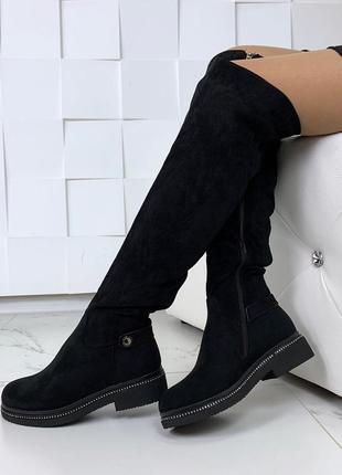 Зимние сапоги ботфорты на низком каблуке,тёплые замшевые ботфорты на меху.