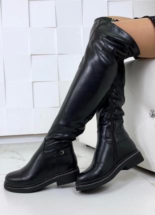 Зимние сапоги ботфорты на низком каблуке,тёплые ботфорты на меху.
