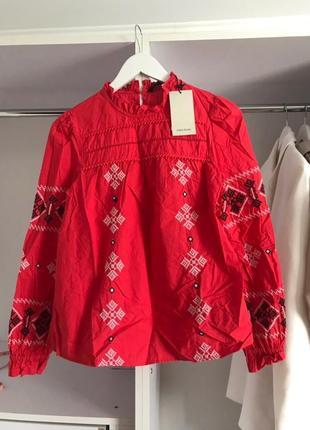 Zara красная вышитая блуза