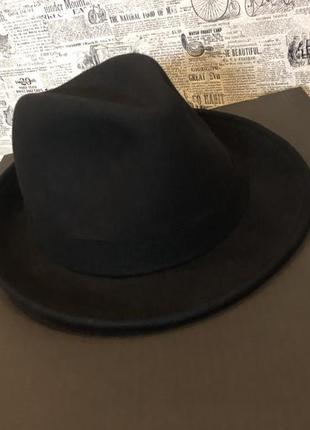 Чёрная фетровая шляпа федора шерсть {бесплатная доставка}