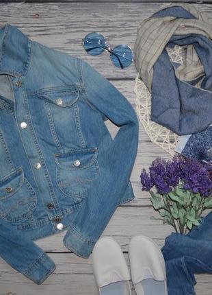 L обалденно фирменный джинсовый пиджак джинсовая курточка джинсовка