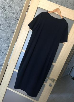 Как новое! темно-синее длинное платье бочонок с разрезом сзади (бесплатная доставка)