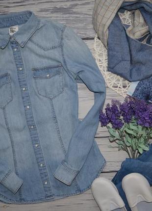 Хs-s/6/36 h&m очень модная женская фирменная рубашка джинсовая блуза