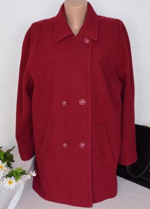 Шерстяное демисезонное пальто с карманами великобритания pure new wool большой размер