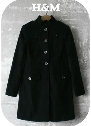 Стильное пальто по фигуре чёрного цвета/h&m