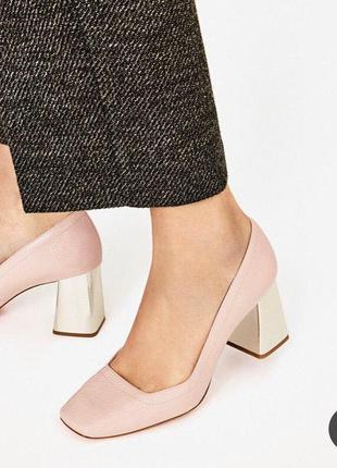 Трендовые розовые туфли на каблуке zara с металлическим каблуком, 37 размер