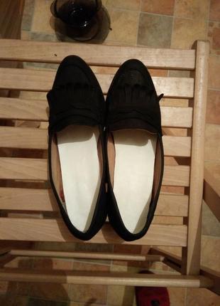 Лоферы туфли замша черные классические небольшой каблук