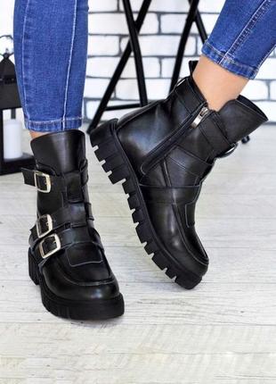 Стильные ботинки из натуральной кожи lux качества с пряжками