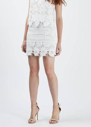 Тотальная распродажа! белоснежная ажурная кружевная юбка мини спідниця