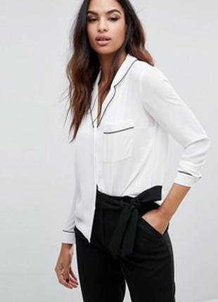 Нереально красивая рубашка в пижамном стиле с черной окантовкой s m