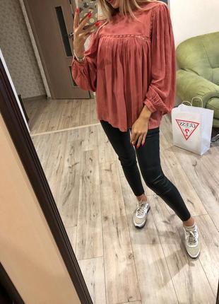 Стильная воздушная блуза блузка рубашка из вискозы m&s