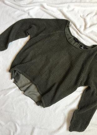 Оливковый свитер george удлиненный сзади