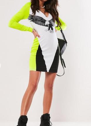 Missguided. товар из англии. гламурное платье футляр с неоновыми красками.
