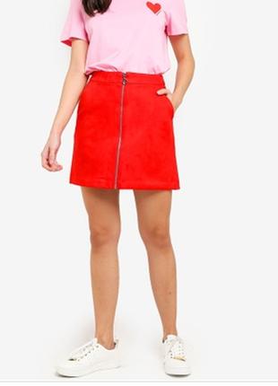 Замшевая брендовая юбка на молнии спереди  \юбка женская красная