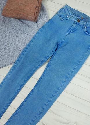 Джинсы на высокой посадке плотный крупный джинс denim голубый олдскул old school