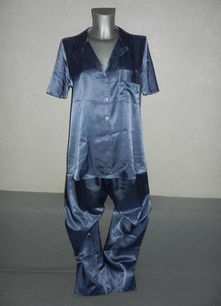 10/38/s bhs,англия!роскошная серо голубая атласная пижама новая
