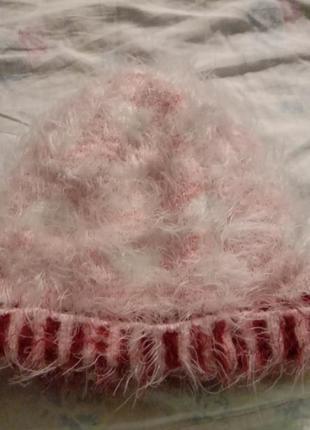 Теплая шапка ангора +внутри мех