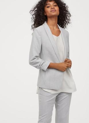 Блейзер пиджак жакет удлиненный светло серый новый