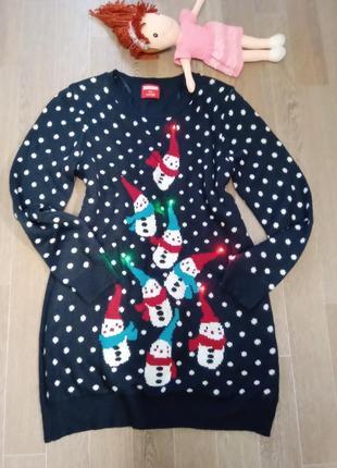 Вау!!! крутой фирменный свитер от george со светодиодной подсветкой!!! состояние идеал!!!