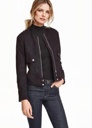 Бомбер косуха куртка эко замш черная качество