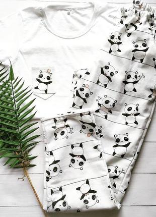 Женская пижама из фланели в панды