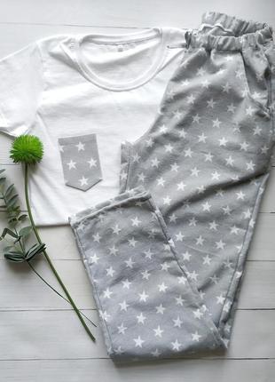 Тёплая женская пижама в звёздочки