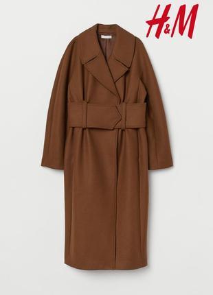 Бомбовое трендовое итальянское шерстяное пальто с широким поясом h&m