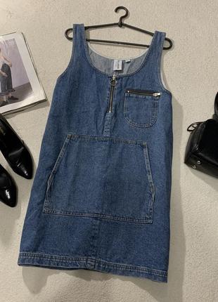 Стильное джинсовое платье-сарафан,размерl