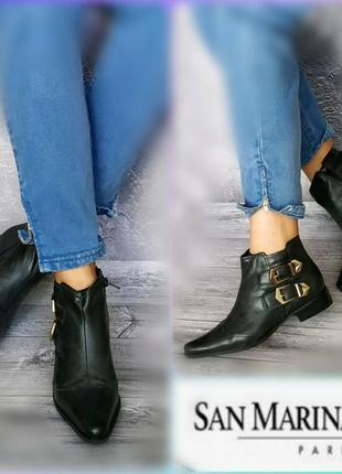 37-38р кожа!новые  франция san marina ботинки с острым носом