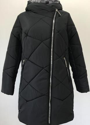 Черная батальная зимняя куртка {50-60}