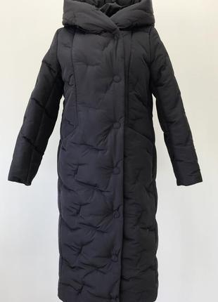 Стеганая зимняя длинная куртка  (48-56)