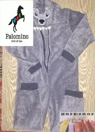 Слип пижама волк,футужама,велюровый  утеплённый спальный комбинезон 134/140