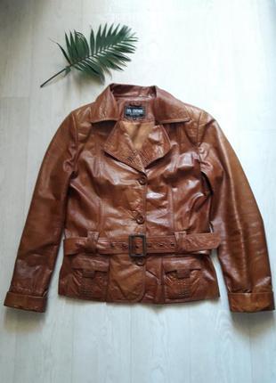 Кожанный куртка косуха на пуговицах  l