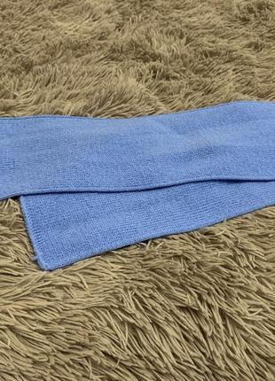 Детский вязанный шарфик ,синий шарф
