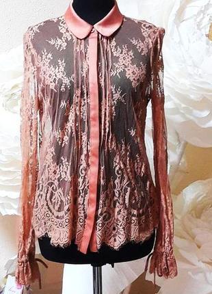 Нюдовая блуза-рубашка кружево реснички