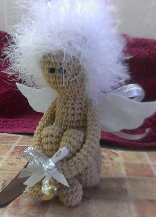 Брелок белый ангел ручной работы