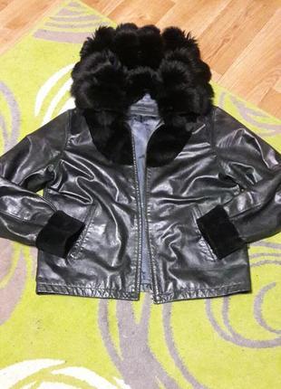 Кожанная куртка с мехом песца 56 размер