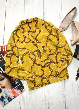 Горчичная блуза в горох с цепями dorothy perkins