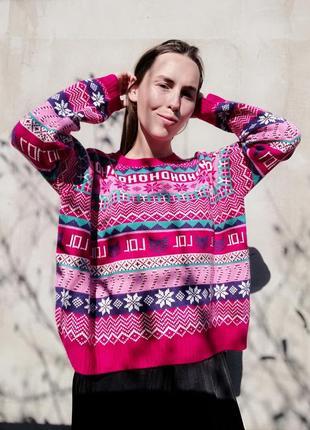 Новогодний свитер кофта h&m джемпер пуловер