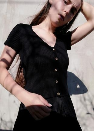 Кофта футболка в рубчик bershka на пуговицах