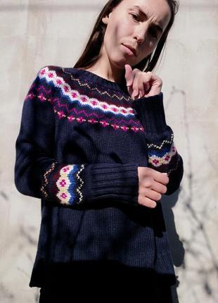 Свитер кофта h&m в етно стиле орнамент принт джемпер пуловер