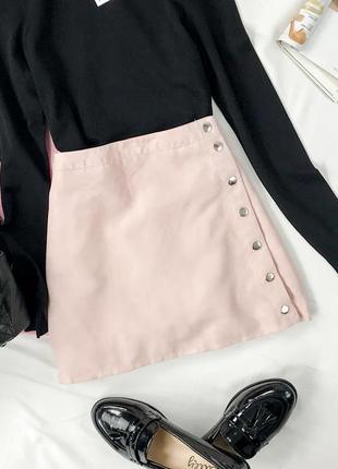Короткая замшевая юбка цвета нюд ki 1942089  h&m