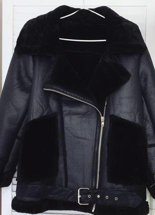 Искусственная тёплая дублянка дублёнка зимняя куртка на меху черная
