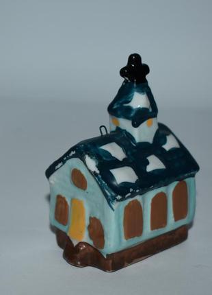 Красивая статуэтка мини домик фарфор роспись англия винтаж