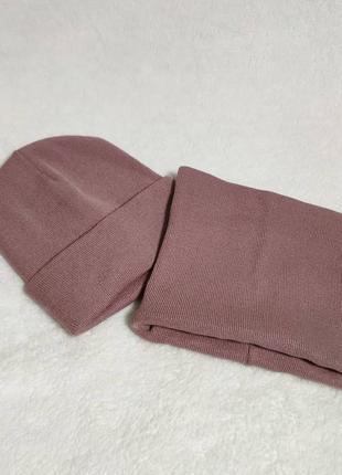 Набор шапка и  хомут баф пудра розовый, шерсть+акрил