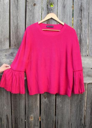 Яркий объемный свитер oversize, хлопковый свитер
