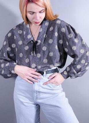 Пышная блуза, серая блуза с принтом крупный горох, объемная рубашка