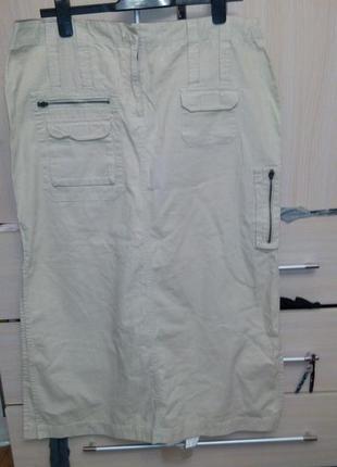Юбка сафари с разрезом и карманами