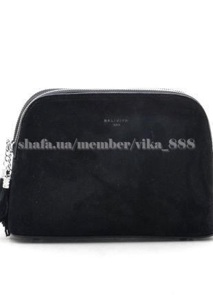 Клатч, сумка через плечо со вставкой из натуральной замши 19150-1 чёрная baliviya